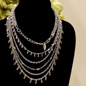 COLDWATER CREEK multi layered silver necklace